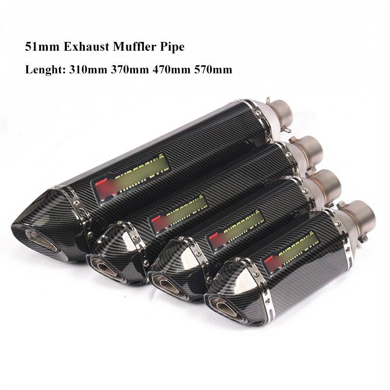 Universal Motorcycle Exhaust Muffler Tips 310mm/370mm/470mm/570mm Stainless Steel Motorbike Muffler Tail Pipe Slip On Modified